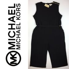 NWT $140 Michael Kors Black Cropped Jumpsuit Sleeveless Stretch Plus Size 3X