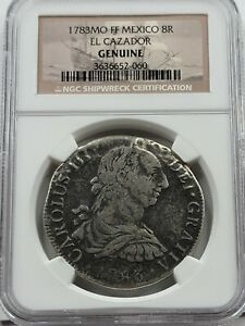 NGC Authentic El Cazador Shipwreck AR 8 Reales.1783 AD. Story card not included.
