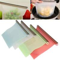 8/16Reusable Silicone Food Fresh Bag Vacuum Sealer Storage Lunch Snack Bags