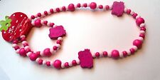 HELLO KITTY  Pink Wood Bead Stretch Bracelet Necklace Girls Gift