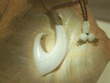 "31mm Carved Maori Tribal Hei Matau Koru Buffalo Bone Fish Hook Necklace 27"" Adj"