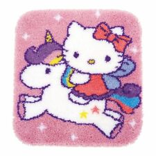 Hello Kitty & Unicorn latch hook kit rug making kit 55x61cm printed canvas