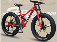24-26 pollici Mountain Bike FAT BIKE BICICLETTA pieno Sospensioni Pneumatici 13cm Freno a disco