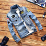 Boys Men's Western Cowboy Jean Retro Denim Jacket Coat Casual Blue Lapel Outwea