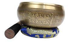 "Singing Bowl/Stick/Cushion Machine Made Nepal 6"" Etch Auspicious Symbols 800-1Kg"