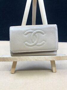 CC186 CHANEL CC Logo Beige Caviar Leather Key Holder  Fits Credit Cards