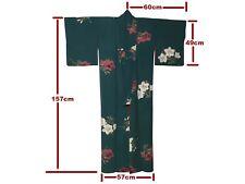 Lovely Vintage Deep Blue-Green Silk Bell Flower Design Kimono: 'Kikyo'