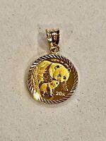 STUNNING- 2004- .999 FINE GOLD PANDA BEAR COIN IN DIAMOND CUT BEZEL/PENDANT
