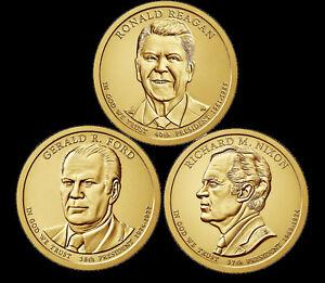 "A 2016 Presidential Dollar THREE (3) Coin Set ""Brilliant Uncirculated"" US COINS"