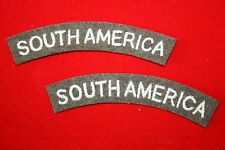 WW2 SOUTH AMERICA NATIONALITY CLOTH SHOULDER TITLE'S ARMY TYPE STYLE