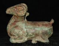 """10 """"Chinesische Antike Alte Bronze Ware Dynastie Schaf Ziege Zun Trinkgefäß"""