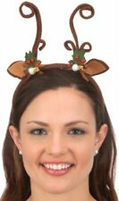 Reindeer Antlers Headband Christmas Bow Brown Rudolph Red Xmas Costume Accessory