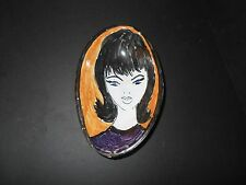Vintage hand painted Italian Bowl with Blue Eyed Girl Mid Century Unusual