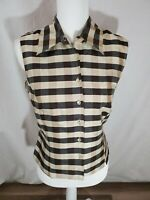 Women's Ice Sleeveless Check Print 100% Silk Collared Top Size Large