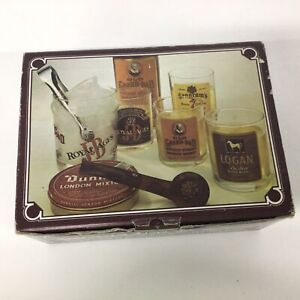 """Four """"Old Fashioned"""" Vintage Whiskey Tumblers & Ice Bucket Set In Box #417"""