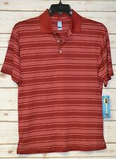 MENS PGA TOUR POLO GOLF SHIRT SIZE: SMALL SHORT SLEEVE RED STRIPE COOL DRY UPF15