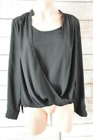 DOTTI Top Sz 10 Medium black silk tunic wrap blouse top