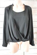 DOTTI Top Sz 10 Medium black silk tunic wrap blouse top