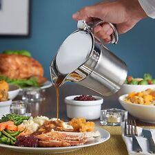 DOUBLE WALL INSULATED STAINLESS STEEL GRAVY BOAT 500ML SAUCE JUG LID KITCHEN NEW