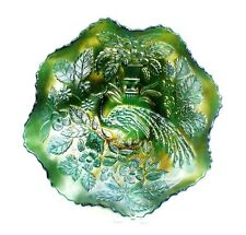 Carvival Glass Bowl, Emerald Green, Peacock & Urn Pattern, Fenton, c.1910