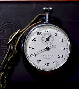 Vintage Chesterfield Antimagnetic Stopwatch Swiss Made Tested & Working with Fob