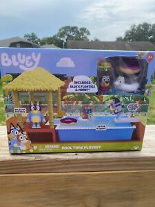 Bluey Pool Time Playset Includes Bluey, Floaters, Pool And Deck