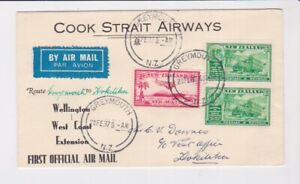 NEW ZEALAND STAMPS 1937 FIRST FLIGHT COOK STRAIT AIRWAYS GREYMOUTH