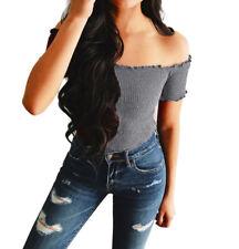 a91c3dc76d2eb Women Summer off Shoulder Tank Top Vest Blouse Sleeveless Crop Tops Shirt