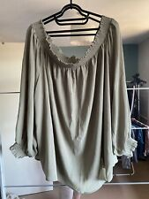 Khaki Long Sleeve Bardot Top In Chiffon Material New Look Size 24
