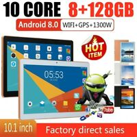 """10.1"""" Tablet 8G+128G 10 Core 4G-LTE Android 8.0 Pad Dual SIM Camera Wifi Phablet"""