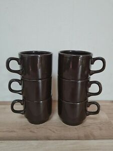 Set of 6 vintage 1970's coffee cups retro brown mugs biltons England stackable