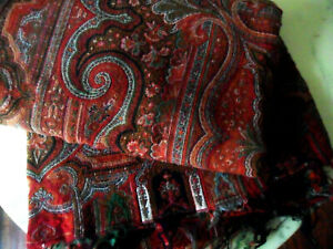Antique 19th Century Large KASHMIR Paisley Shawl THROW Tablecloth, From France