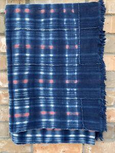 "Woven Cotton Textile, Dyed Fabric, African Indigo Mudcloth, Baule Cloth 62""x42"""