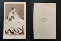 Disdéri, Paris, la Princesse Clotilde de Savoie et son fils Victor CDV vintage a