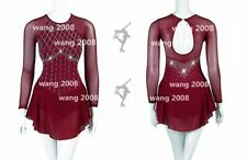 Ice Figure Skating Dress Custom Competition Dress burgundy beaded Twirling