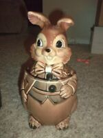Vintage JAPAN Bunny Rabbit Cookie Jar 7 x 12""