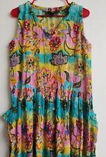 Vtg India Bila Gauze Rayon Floral Pink Blue Yellow Boho Gypsy Jumper Dress Small