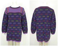 Womens Gudrun Sjoden Vintage Sweater Tunic Jumper Cotton Purple Long Size XL
