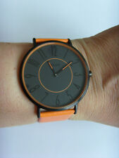 M&M Germany Uhr Damenuhr M11870-787 geradlinig Lederband orange COLOR BLOCKING