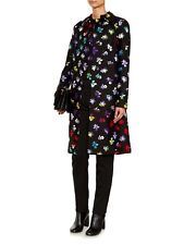 New Designer Diane Von Furstenberg Knee Length Wool Silk Blend Black Coat $795,8