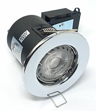 Robus LED Fire Rated GU10 Downlight Chrome Ceiling Spotlights Lights with BULB