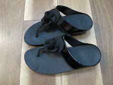 FitFlop C91-001 Women's Black Florrie Toe-Post Thong Sandals Sz 9 EU 41