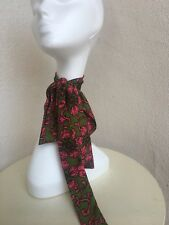 "f49938a354f7a Vintage Mod Long Narrow Scarf Tie Green Hot Pink Floral 64""x2"""