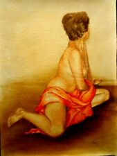 Vulcaness nude with orange scarf, painted with oil, b3 canvas