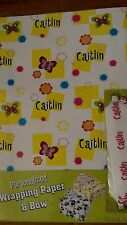 Personalized birthday gift wrap wrapping spring butterflies NIP Caitlin