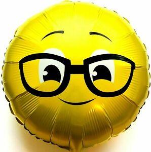 R36F11 Helium Folienballon Streber Brille Emoji Hochzeit Geburtstag Geschenk NEU
