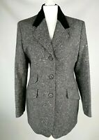 St Michael M&S Pure Wool charchoal black tweed Jacket Blazer velvet collar uk 14