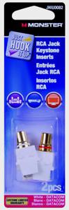 Monster JHIU0082 Just Hook It Up RCA JACK KEYSTONE INSERTS Snap-It Inserts 2 pc