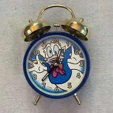 Disney Parks Donald Duck Alarm Clock Blue w/ Gold Bells RARE Works