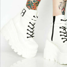 Female Punk Gothic Shoes Wedge High Heels Platform Zip Lace Ankle Boots